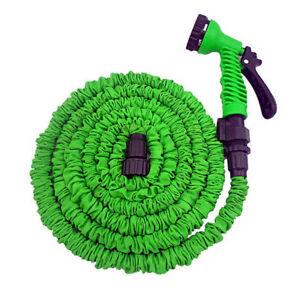 25FT Expandable Flexible Green Color Garden Water Hose With Spray Nozzle Head