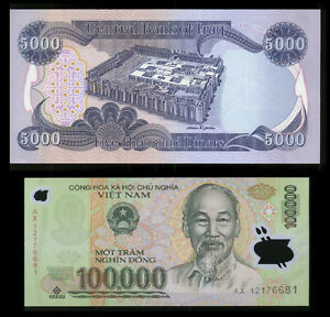 Details About 100000 Viet Nam Dong New Free 5000 Iraqi Dinar Note With Purchase Lot Of 1 Ea