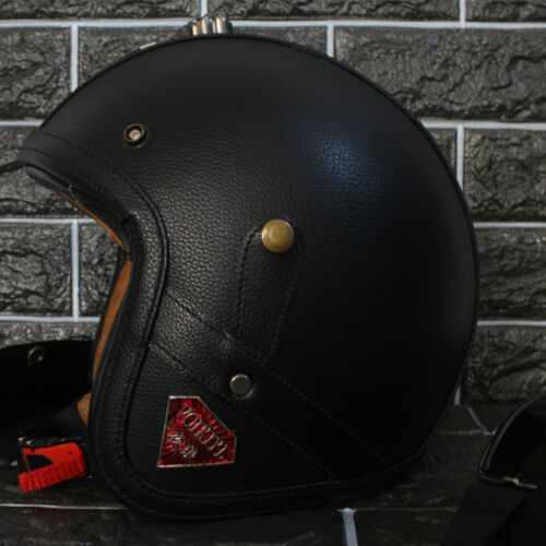 Vintage Open Face Motorcycle Helmet Leather Handmade Cruiser Retro Pilot Goggles