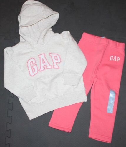 baby Gap NWT Girl 2T 3T Outfit Set Oatmeal Beige Hoodie /& Coral Pink Sweat Pants