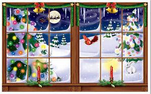 Christmas Scene Setters Australia.Details About Snowy Window Scene Setter Christmas Holiday Winter Party Wall Decor Kit Snow