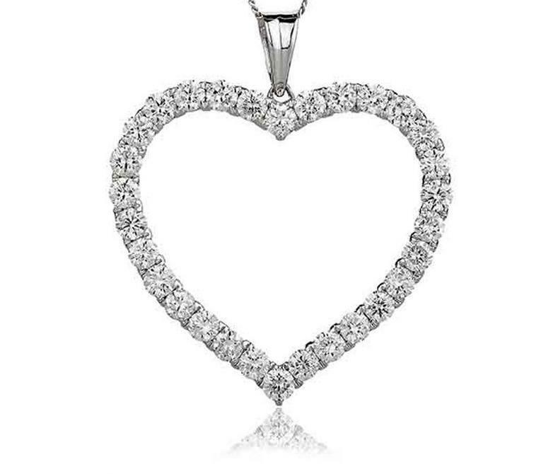 Certified 0.50ct F VS Diamond  Open Heart  Pendant in 18ct White gold with Chain