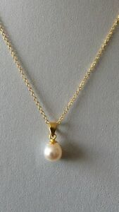 Sterling Silver 14K Gold Plated Fresh Water Pearl 89mm Solitaire Pendant - Surrey, United Kingdom - Sterling Silver 14K Gold Plated Fresh Water Pearl 89mm Solitaire Pendant - Surrey, United Kingdom