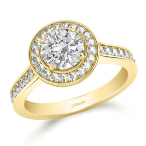 1.70 Ct Round Cut Real Moissanite Anniversary Ring 14K Solid Yellow Gold Size 7