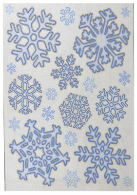 20 Xmas Christmas Window Decorations Stickers Snowflake With Glitter Home Decor
