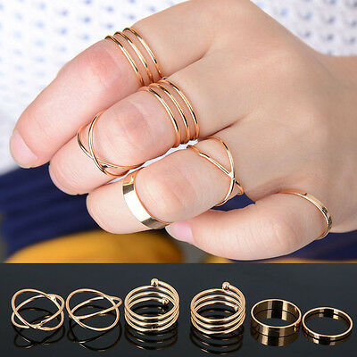 6PCS SET KNUCKLE RING FASHION PUNK URBAN GOLD STACK ABOVE BAND MIDI RINGS SET
