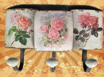 Wall Hook Shield Iron Roses 3er Wardrobe Hook Türgarderoben Vintage Aesthetics Easy To Repair Antique Furniture Reproduction Arms./wardrobes