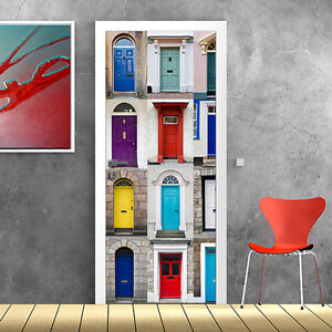 Pt0163 wall stickers adesivi murali porte decorate porta mania 2 100x210cm ebay - Porte decorate adesivi ...