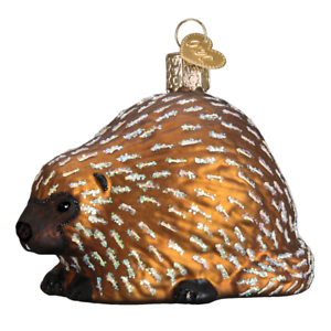 034-Porcupine-034-12511-X-Old-World-Christmas-Glass-Ornament-w-OWC-Box