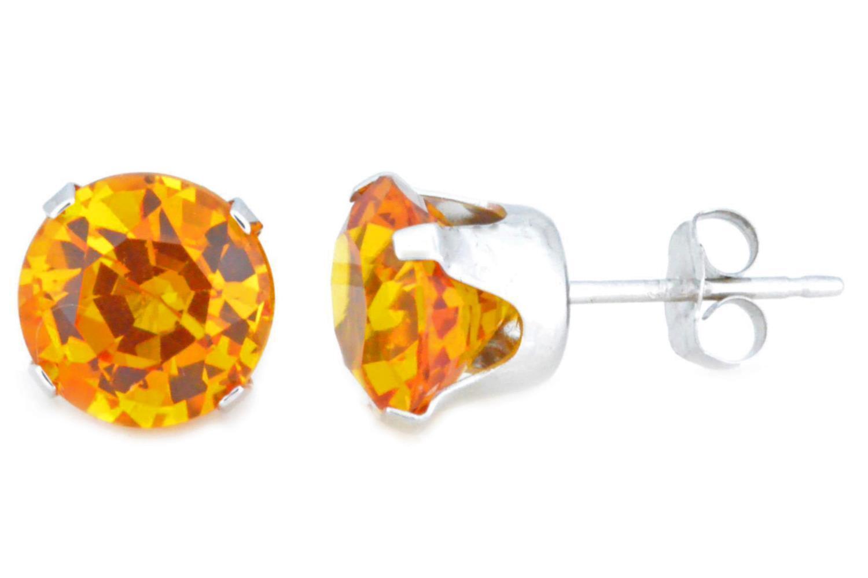 14Kt White gold Citrine 8mm Round Stud Earrings