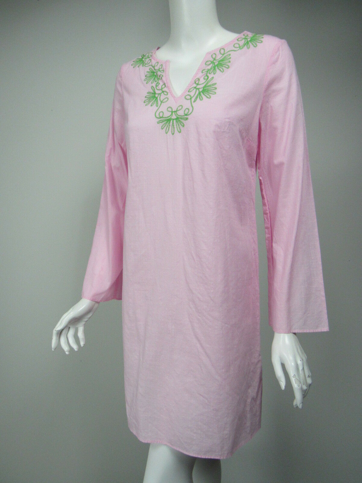 LILLY PULITZER Elina Tunic Pink Cotton Green Embroidery Cover-up Dress sz XS