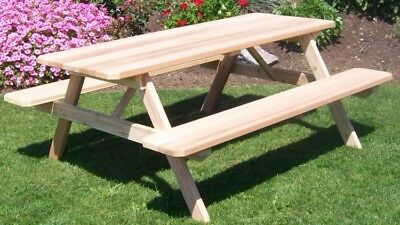 Superb Al Furniture Amish Made Cedar Picnic Tables With Attached Benches 9 Stains Ebay Creativecarmelina Interior Chair Design Creativecarmelinacom