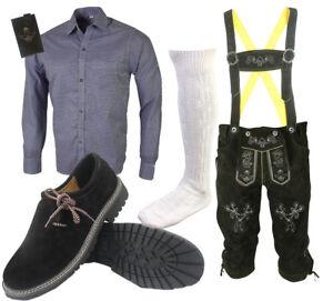 Herren-Trachten-Lederhose-Trachtenset-Bayerische-Trachtenhose-Hemd-Schuhe-Socken