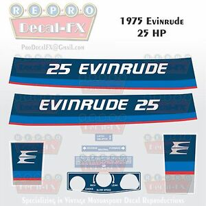 Details about 1975 Evinrude 25 HP Two Stroke Outboard Reproduction 8 Pc  Marine Vinyl Decals