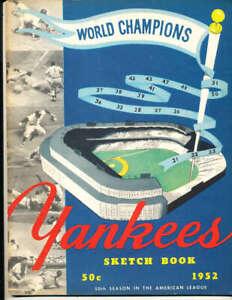 1952 new York Yankees Baseball Yearbook sketchbook em