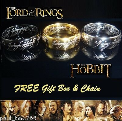 Lord of the Rings - Hobbit Laser Engraved 18K Plated Tungsten Ring
