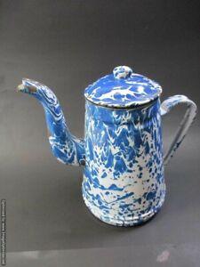 Antique-French-Enamelware-Graniteware-Blue-Marbleized-Teapot-Pitcher