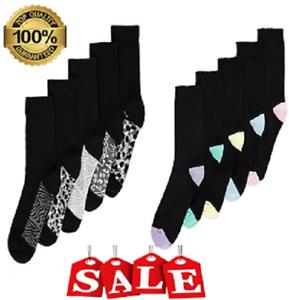 *10 Pairs Black Animal Ladies Socks Black Coloured Toe and Heel Cotton 4-7 BNHJK