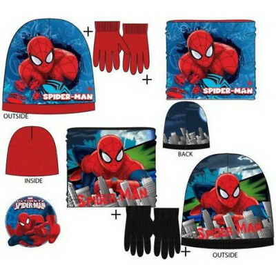 guanti e snood per ragazzi Marvel Spiderman set ufficiale Spiderman inverno set di cappello