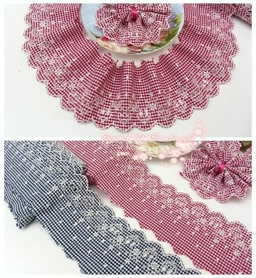 """3.5/""""*1Y Beautiful Embroidered Lace Trim~Pure White~Cotton~Lovely Garland~"""