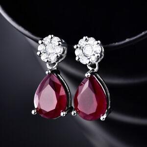 Dangle-Pear-Ruby-Red-Crystal-Silver-Gold-Filled-Women-Lady-Jewelry-Stud-Earrings