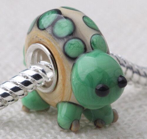 1pcs Silver Murano Glass Bead lampwork Animal European Charm Bracele DW065