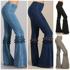 Denim Effect Hippie Boho Chic Bell Bottom Flare Stretch Fringe Pants Yoga S M L