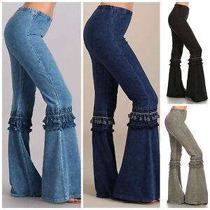 denim effect hippie boho bell bottom flare stretch fringe pants