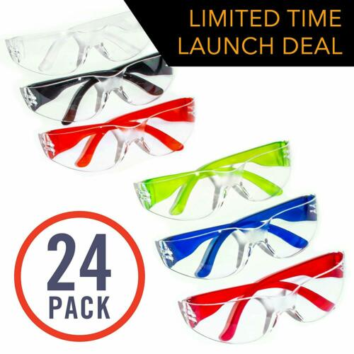 Crystal 24 Pack of Safety Glasses 24 Protective Goggles in 6 Different Colors