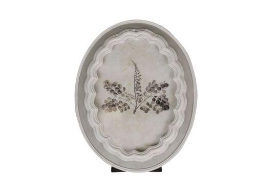 Altfranzösischer Bilderrahmen oval Antik grau weiß verziert