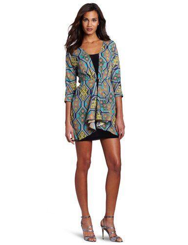 NWT Mara Hoffman front tie combo  3 4 sleeves dress in Kilim Navy size 10 -  286