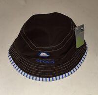 Crocs Baby Reversible Brown/blue Hat 12-24 Months