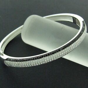 BANGLE-BRACELET-REAL-925-SOLID-STERLING-SILVER-BLACK-SIMULATED-DIAMOND-DESIGN