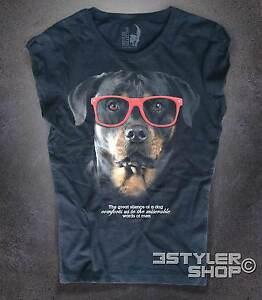 T-shirt-donna-ROTTWEILER-il-silenzio-dei-cani-SUNGLASSES-Amazink