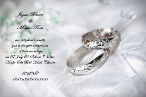 PERSONALISED SILVER RINGS WEDDING CELEBRATION INVITATIONS WITH  ENVELOPES