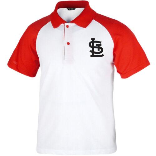 St Louis Cardinals Raglan Polo T-Shirts Baseball Collar Tee Jersey Uniform 0117