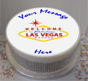 Pleasant Novelty Personalised Las Vegas Sign 7 5 Edible Icing Cake Topper Funny Birthday Cards Online Fluifree Goldxyz