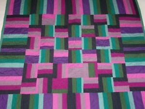 100-Hand-Stitched-Handmade-Patchwork-Mini-Quilt-34-034-x-36-034-Made-in-USA