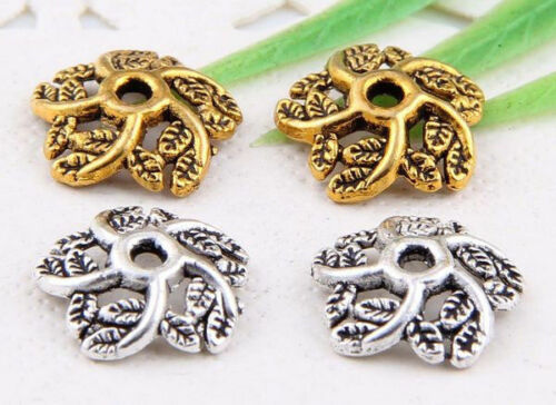 wholesale 82//276Pcs Silver //Gold Plated Flowers Bead Caps 10.5x2.5mm (Lead-Free)