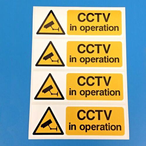 CCTV Telecamera Di Sicurezza Avvertimento Adesivi segni confezione da 4 150mm x 50mm