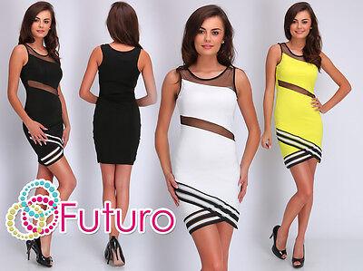 Diszipliniert Womens Exclusive Cut Out Bodycon Sleeveless Mesh Mini Dress Sizes 8 - 14 Fc1669 Zur Verbesserung Der Durchblutung