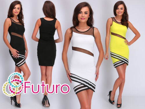 Womens Exclusive Cut Out Bodycon Sleeveless Mesh Mini Dress Sizes 8-14 FC1669