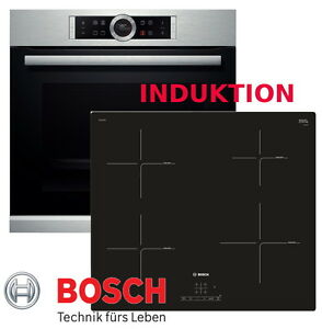 bosch herdset induktion elektro autark backofen silber induktion kochfeld 60cm ebay. Black Bedroom Furniture Sets. Home Design Ideas