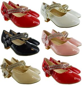 KIDS-GIRLS-CHILDRENS-HIGH-LOW-MID-HEEL-BOW-WEDDING-BRIDESMAID-PARTY-SANDALS-SHOE