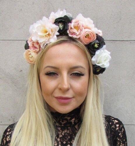 Cream Blush Pink Blue Black Rose Flower Fascinator Headband Floral Races 5795