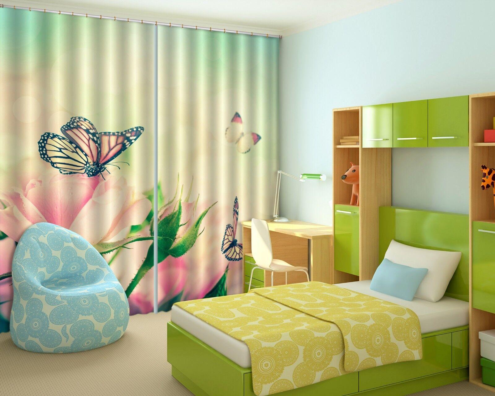 3D Flying mariposa cortinas de impresión de cortina de foto 01 Blockout Cortinas nos Limón