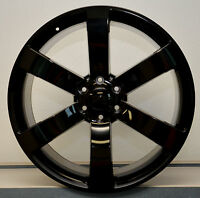 Set (4) 24 Gl Black Ss Style Chevy Gmc Silverado Sierra Tahoe Wheels Rims