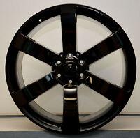 Set (4) 24 Gl Black Ss Style Chevy Gmc Silverado Sierra Tahoe Wheels Rims