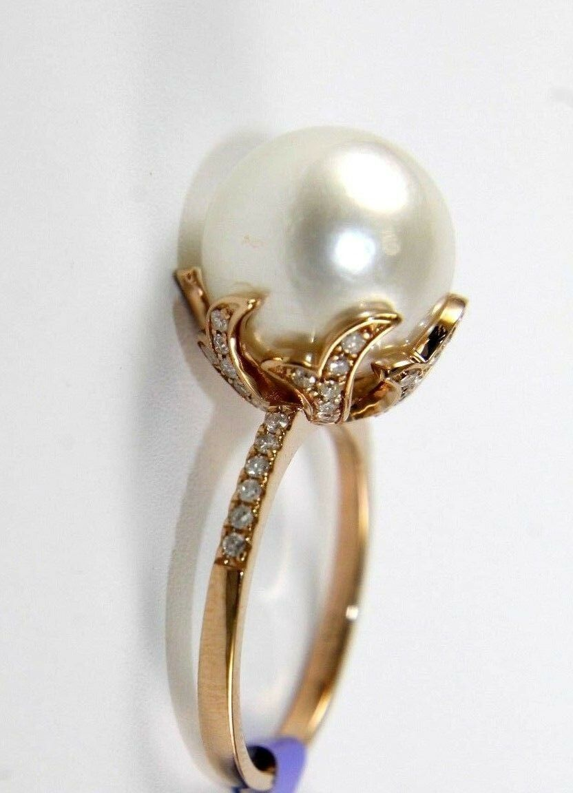 Huge South Sea Pearl Solitaire Ring w Diamond Accents 14k pink gold 12mm .36Ct