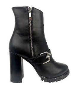 Stiefel Black Boots Cq High Ankle Stivali Heel Nero 36 Leather Biker Couture Zip SS6q1